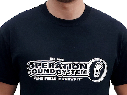 Close up Black Operation Sound System t-shirt front WEB